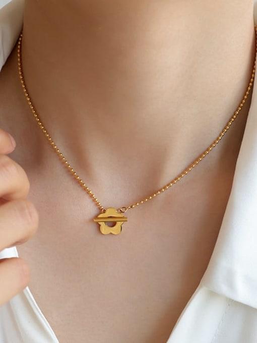 Five Color Titanium Steel Flower Minimalist Beaded Necklace 1