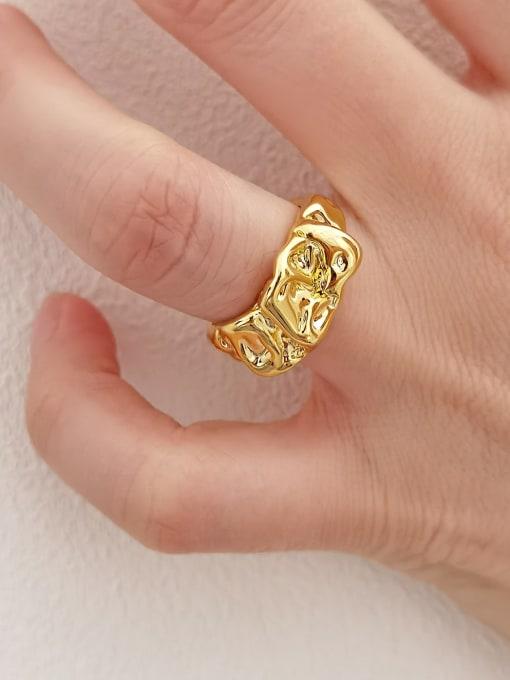 HYACINTH Brass Irregular Vintage Band Ring 2