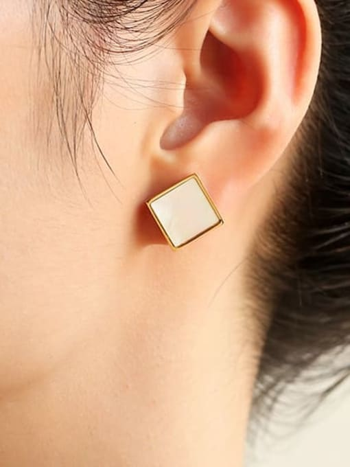 Five Color Brass Shell Geometric Minimalist Stud Earring 1