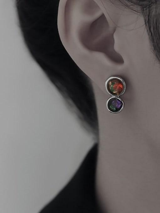 TINGS Brass Rhinestone Geometric Minimalist Stud Earring 1