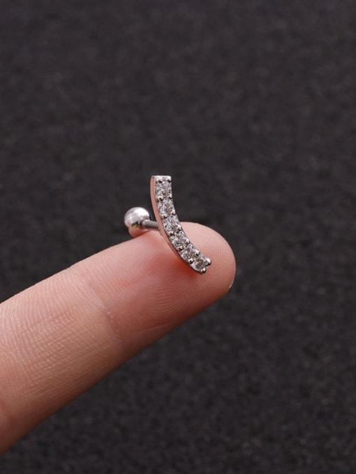 Platinum 5#(Single) Brass Cubic Zirconia Geometric Minimalist Stud Earring