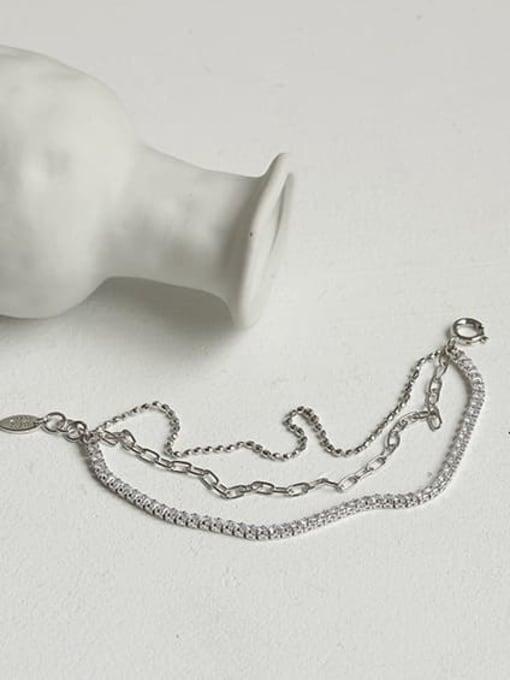 ACCA Brass Cubic Zirconia  Vintage Three layered rhinestone bracelet