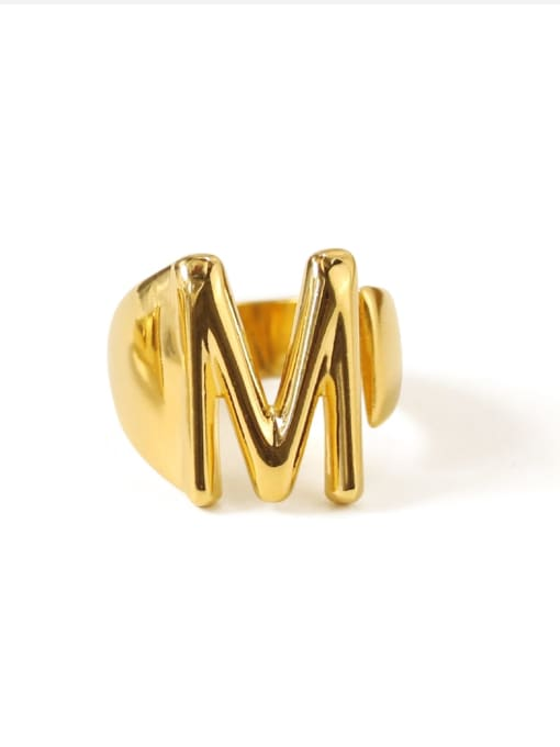 M Brass  26 Letter Vintage Band Ring