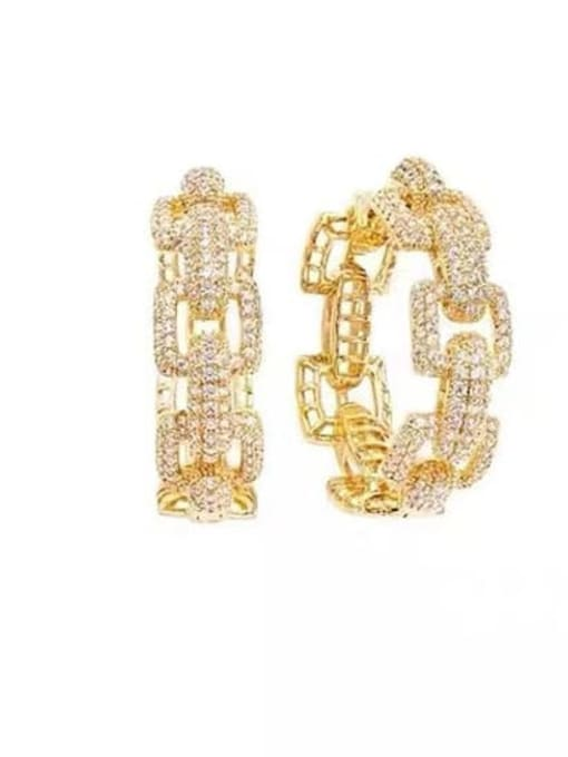 gold Brass Cubic Zirconia Geometric Statement Huggie Earring