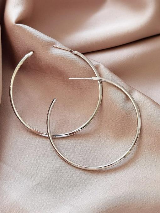 White K Brass Hollow Round Minimalist Hoop Earring