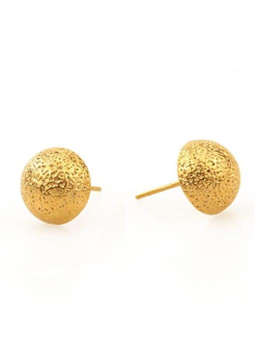 Hemispherical stud Brass Round Vintage Stud Earring