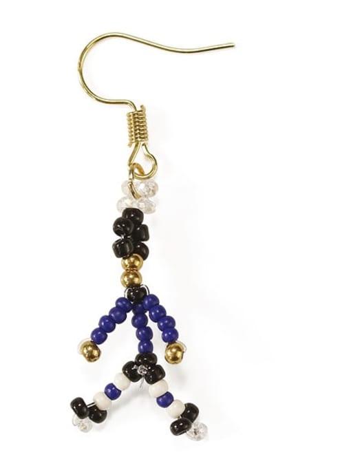 Five Color Alloy Bead Irregular Cute Hook Earring 1