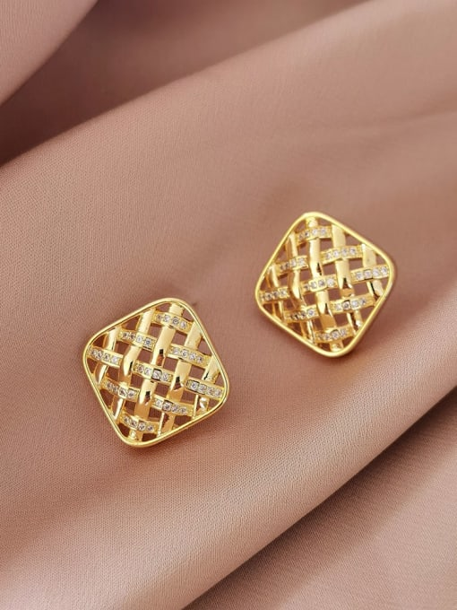 14K  gold Brass Rhinestone Geometric Vintage Stud Earring