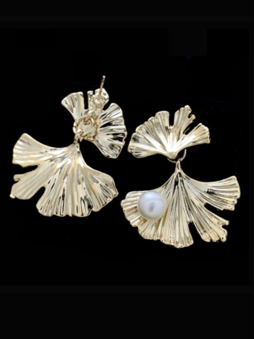 SUUTO Brass Imitation Pearl Leaf Vintage Stud Earring 1
