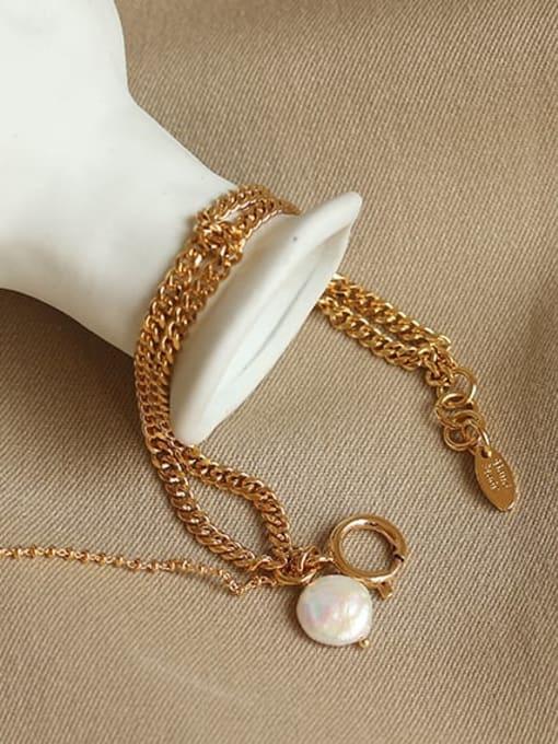 ACCA Brass Cats Eye Geometric Vintage Strand Bracelet