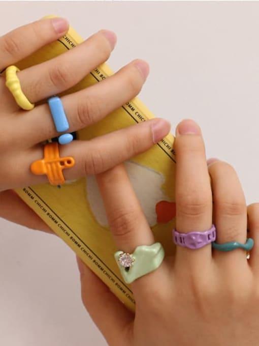 Five Color Zinc Alloy Enamel Geometric Minimalist Band Ring 1