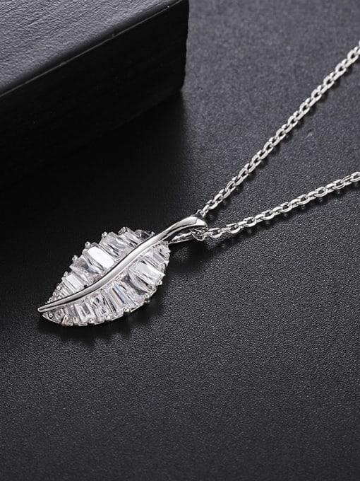 Platinum White Brass Cubic Zirconia Leaf Minimalist Necklace