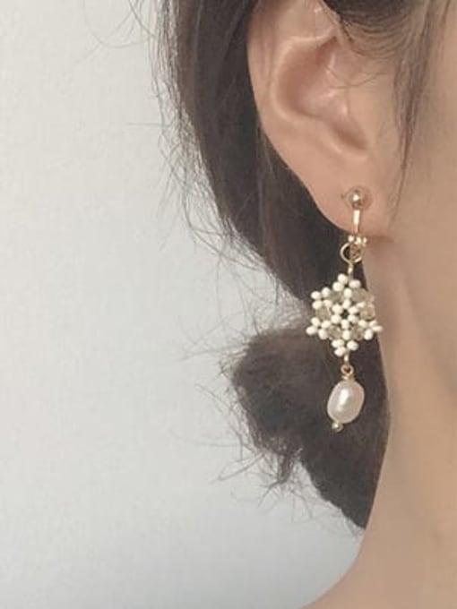 Five Color Alloy Imitation Pearl  Flower Cute Hook Earring 1