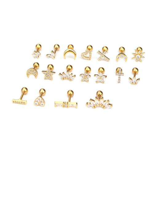 HISON Brass Cubic Zirconia Ball Hip Hop Stud Earring 3