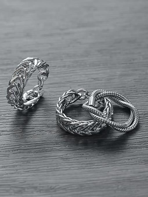 TINGS Titanium Steel Geometric Vintage Stackable Ring 0