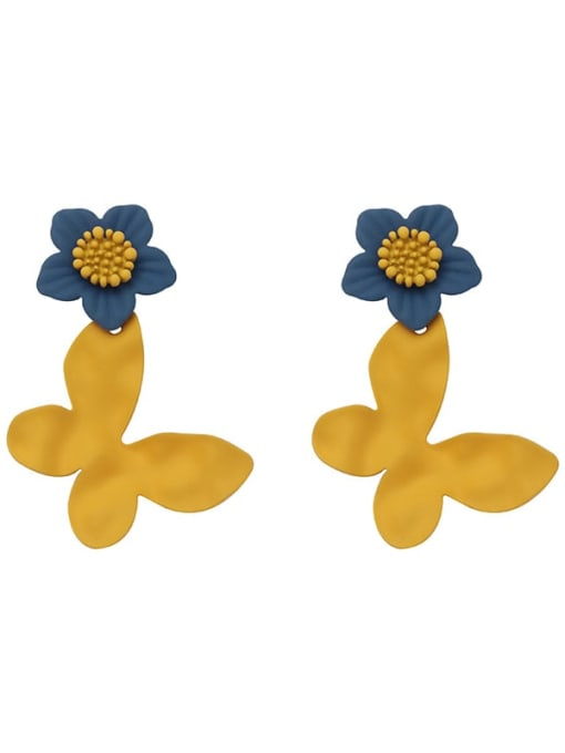 The lake is blue and yellow Brass Enamel Flower Vintage Drop Earring