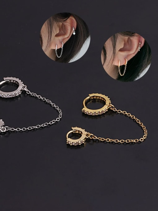 HISON Brass Cubic Zirconia Tassel Minimalist Huggie Earring(Single) 2