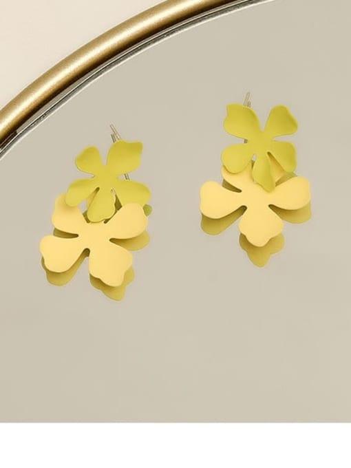 Cyan yellow Brass smooth Flower Minimalist Drop Earring