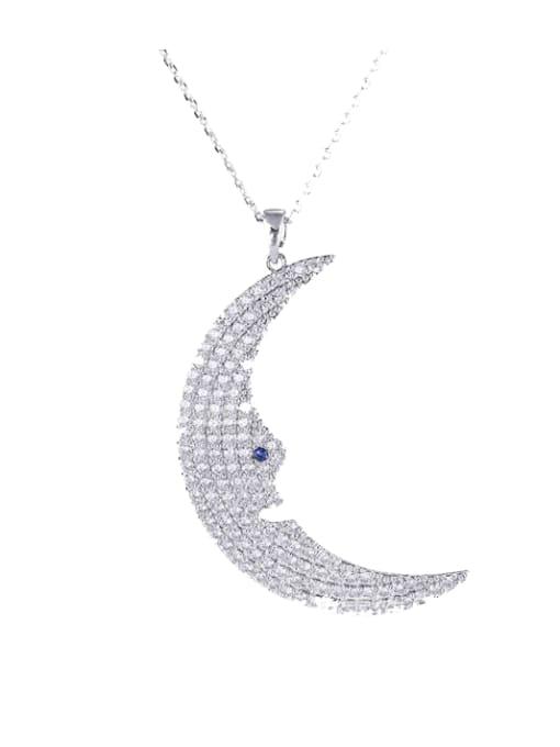 platinum Brass Cubic Zirconia Moon Statement Necklace