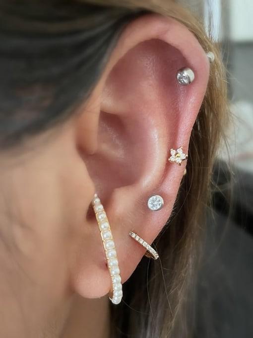HISON Brass Cubic Zirconia Geometric Minimalist Single Earring 1