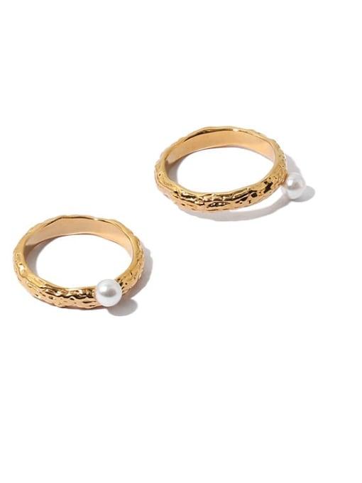 ACCA Brass Imitation Pearl Irregular Vintage Band Ring 3