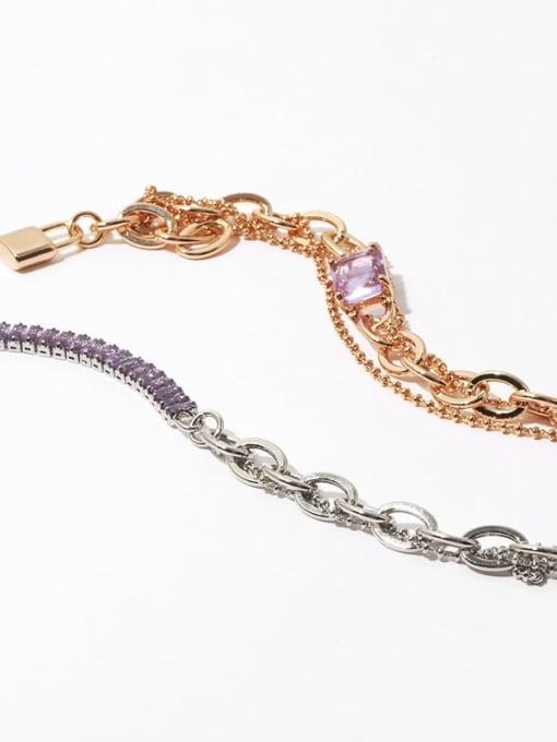 TINGS Brass Cubic Zirconia Geometric Vintage Multi Strand Necklace 2