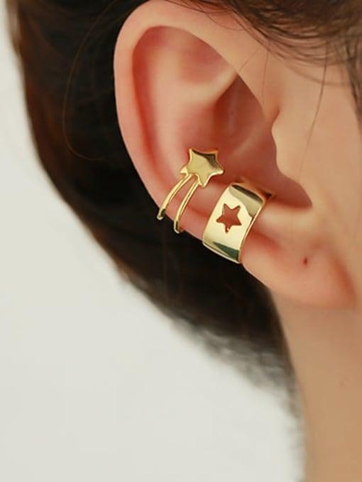 ACCA Brass Hollow geometry Hip Hop Single Earring 2