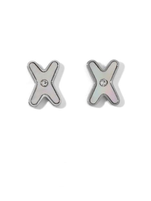 Steel color Brass Shell Letter Minimalist Stud Earring