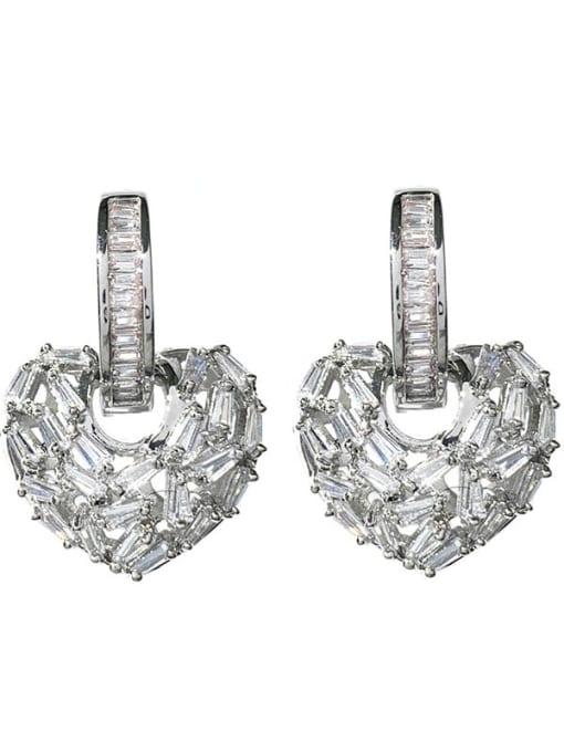 steel Brass Cubic Zirconia Heart Minimalist Huggie Earring