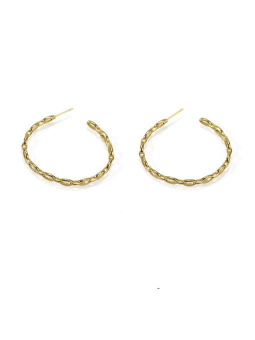Item 1 Brass  Geometric Vintage  C shape Hoop Earring