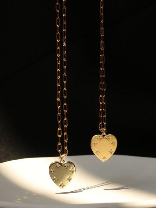 ACCA Brass Rhinestone Heart Minimalist pendant Necklace 3