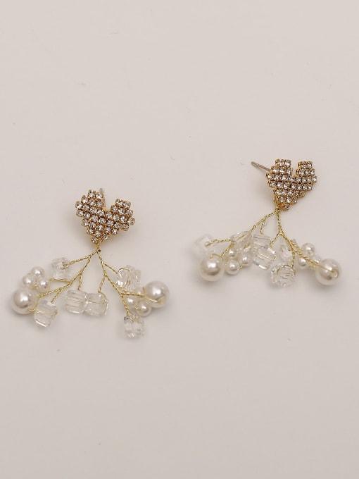 14K real gold Brass Cubic Zirconia Heart Vintage Drop Earring