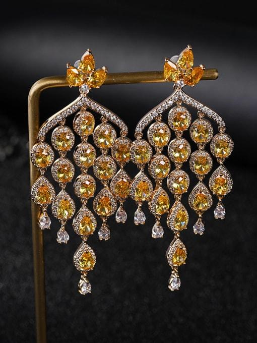 OUOU Brass Cubic Zirconia Tassel Luxury Cluster Earring 2