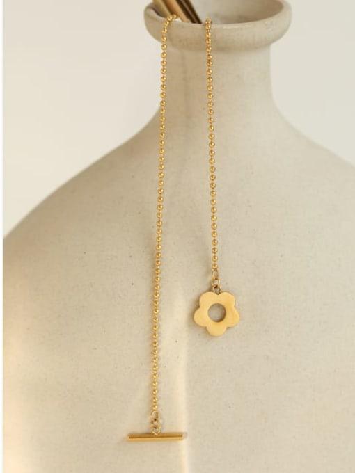 Five Color Titanium Steel Flower Minimalist Beaded Necklace 3