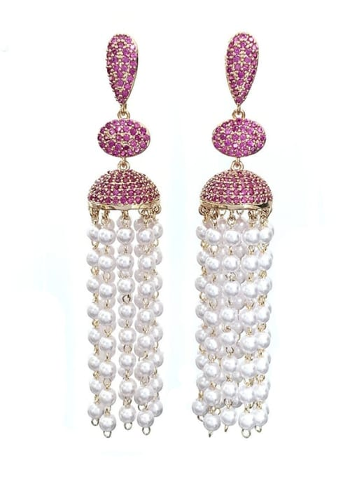 red Brass Imitation Pearl Geometric Ethnic Drop Earring