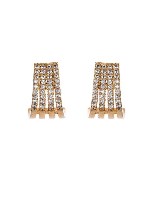 OUOU Brass Cubic Zirconia Geometric Ethnic Stud Earring 2