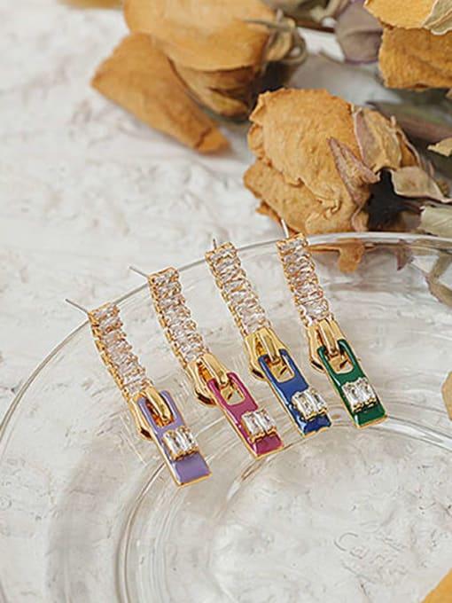 ACCA Brass Cubic Zirconia Rectangle Minimalist Drop Earring 2