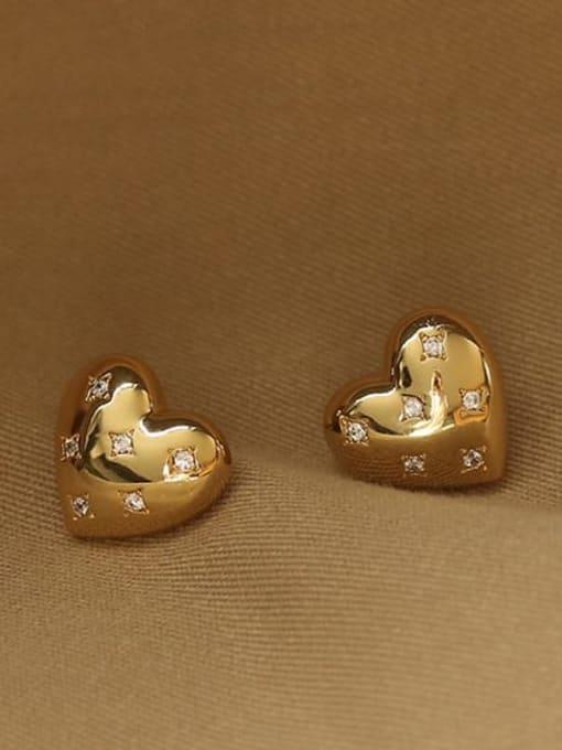 ACCA Brass Rhinestone Heart Minimalist Stud Earring 2