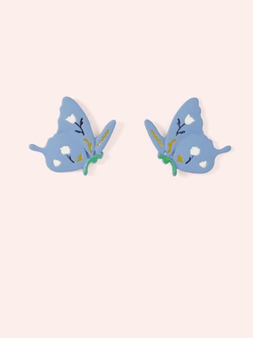 Five Color Alloy Enamel Butterfly Cute Stud Earring