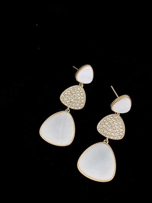 SUUTO Brass Cubic Zirconia Geometric Minimalist Drop Earring 0