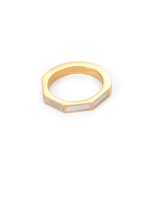 White shell ring Brass shell Geometric Minimalist Band Ring