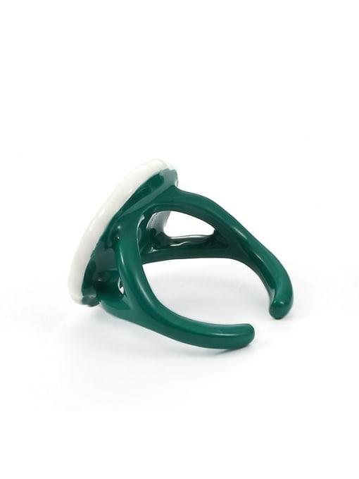 White green drop oil Zinc Alloy Enamel Flower Minimalist Band Ring