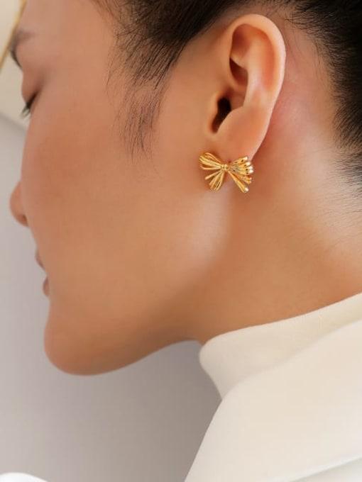 Five Color Brass Rhinestone Bowknot Minimalist Stud Earring 1
