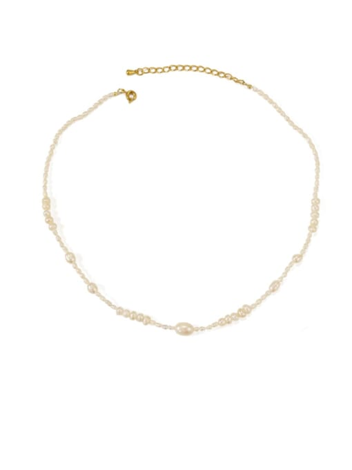 ACCA Brass Freshwater Pearl Geometric Minimalist Necklace 4