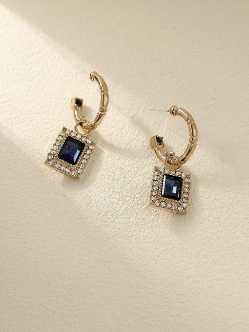Coffee gold Brass Cubic Zirconia Geometric Vintage Drop Earring