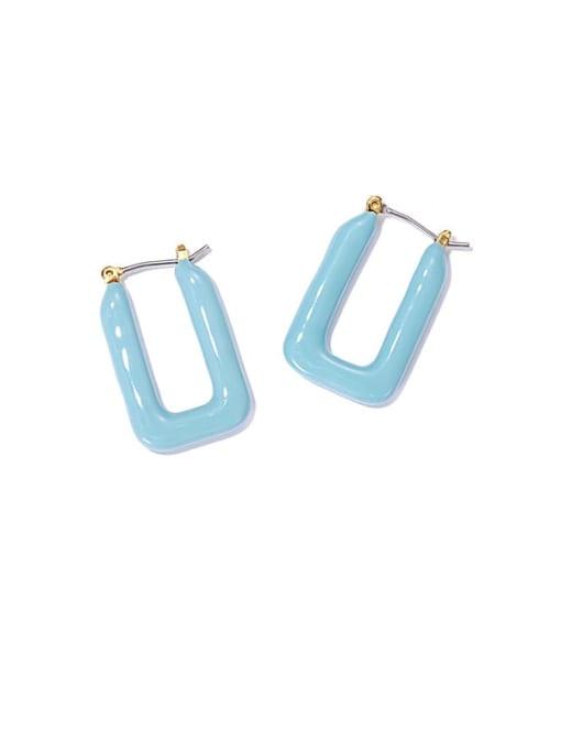 Mint blue oil drop earrings Brass Enamel Geometric Vintage Stud Earring