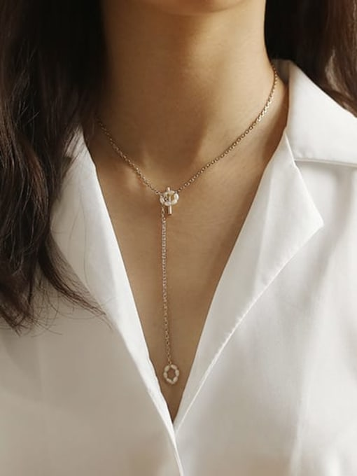 ACCA Brass Freshwater Pearl Geometric Vintage Lariat Necklace