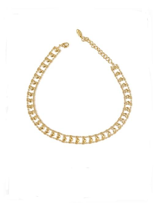 ACCA Brass Hollow Heart Minimalist Choker Necklace 0