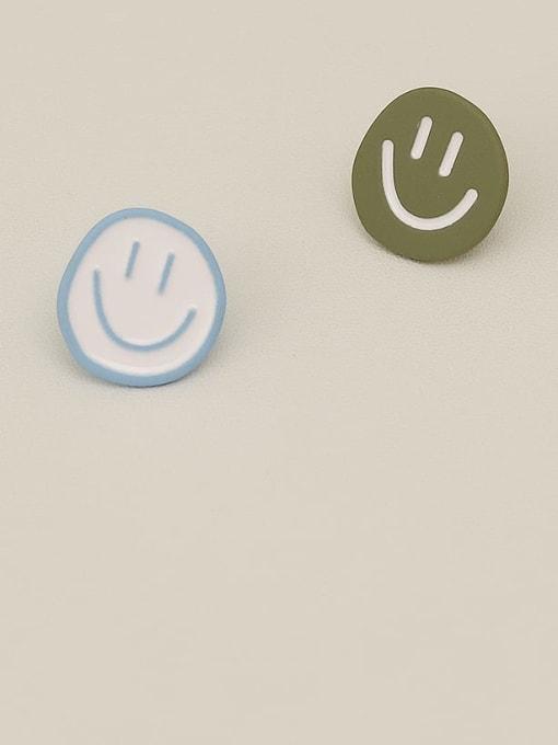 HYACINTH Copper Enamel Smiley Minimalist Stud Earring 3
