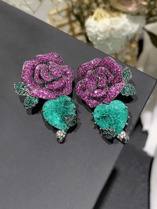 SUUTO Brass Cubic Zirconia Flower Vintage Drop Earring 0